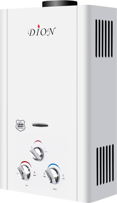 Колонка газовая DION JSD 16, Мощность: 32 кВт, Проток 16 л/мин, тип Дымоходная, розжиг- от батареек