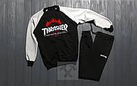 Спортивный костюм без молнии Thrasher черно-серый топ реплика