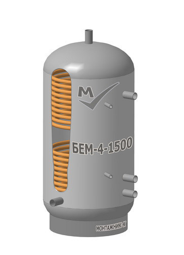 Буферная емкость БЕМ-3-1500 литров, два змеевика, с изоляцией