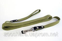Коллар Поводок для собак брезентовый Collar, прошитый с кожаной накладкой (длина 0,5 м, ширина 2см)