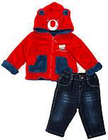 """Костюм куртка и брюки для мальчика """"Мишка"""" """"Bebessi"""", Красный, 68(68-86), 68 см"""