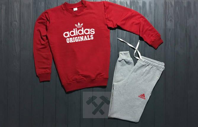 Спортивный костюм без молнии Adidas красно-серый топ реплика, фото 2