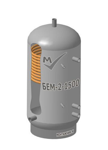 Буферная емкость БЕМ-2-1500 литров, один змеевик, с изоляцией