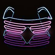Светодиодные Led El очки светящиеся очки для вечеринок, пати, розовые с голубым ободком