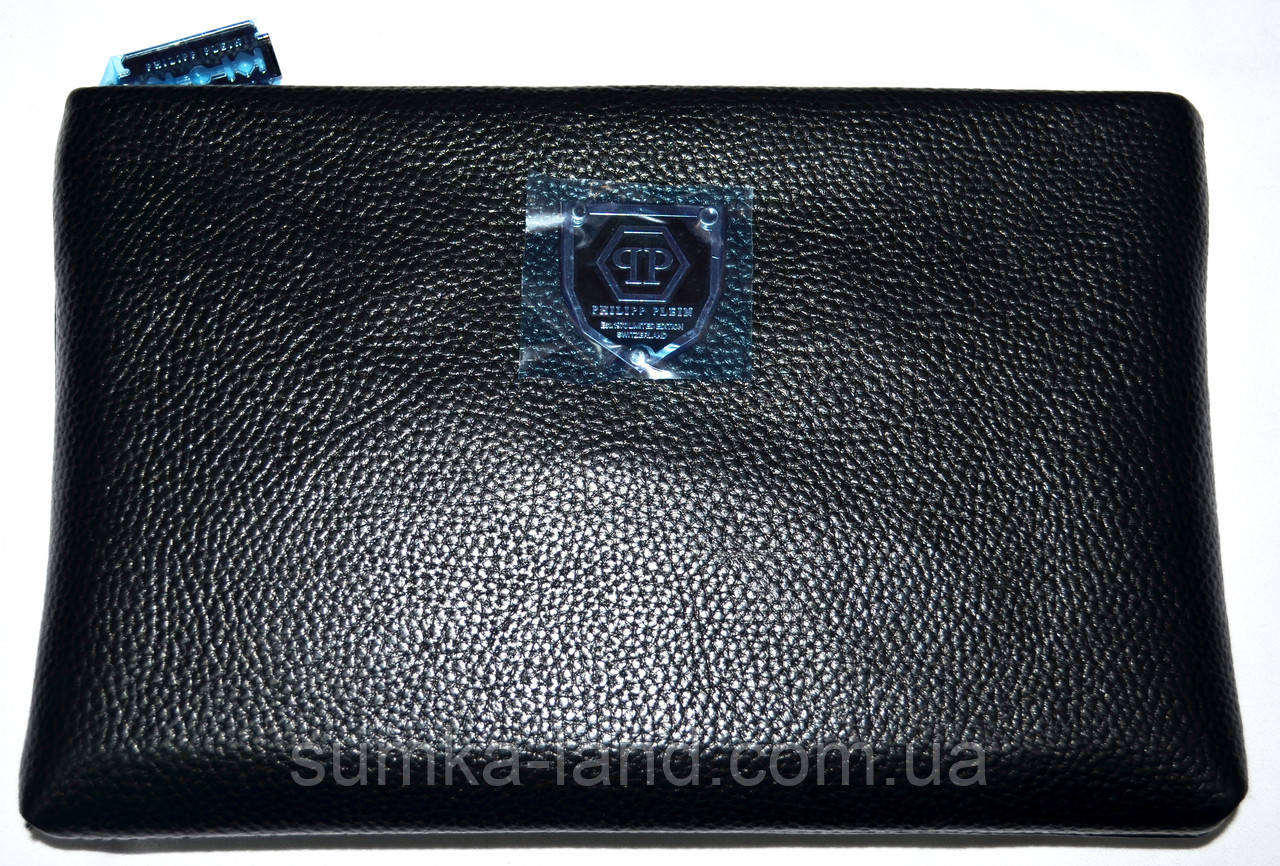 Мужской кожаный черный клатч-сумка Philip Plein с ремешком на руку 27*18 см