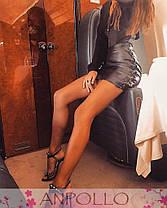 Кожаная юбка мини со шнуровкой по бокам, фото 2