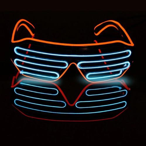 Светодиодные Led El очки светящиеся очки для вечеринок, пати, синие с красным ободком