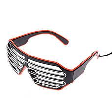 Светодиодные Led El очки светящиеся очки для вечеринок, пати, синие с красным ободком, фото 2