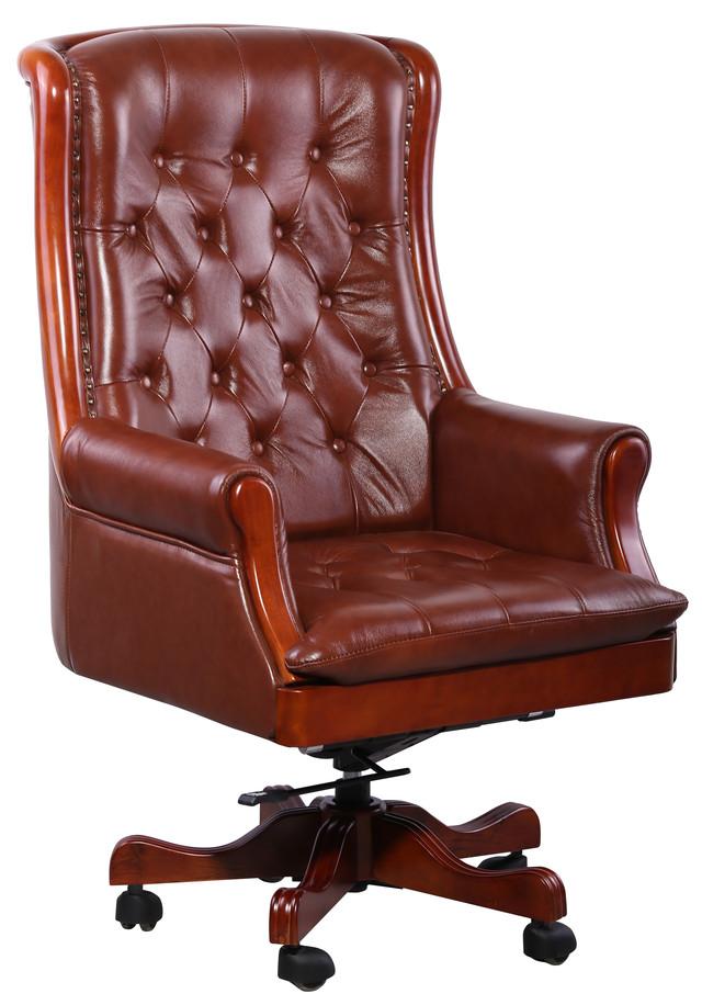Кресло Линкольн, кожа коричневая (671-B+PVC) мех., DT-DeepTilt