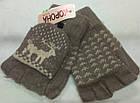 Перчатки митенки женские шерстяные 2-ные без пальцев Корона с откидной варежкой ПЖЗ-158, фото 5