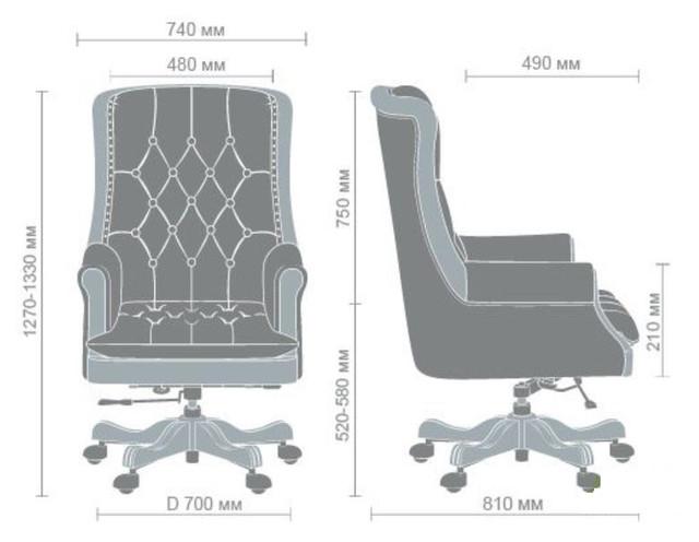 Кресло Линкольн , кожа коричневая (671-B+PVC) габариты