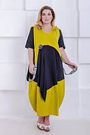 Яркое платье размера плюс Имидж черный-горчица (54-70), фото 1