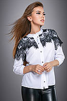 Красивая женская Блуза 2712 белый с черным кружевом, фото 1