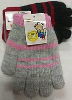 Перчатки детские двойные шерсть с ангоркой Мишка  ПДЗ-1711, фото 1