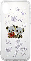 Чехол-накладка TOTO TPU case with stones iPhone X Panda Transparent