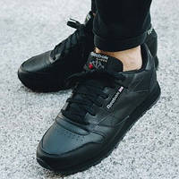 """Размер 44,5  Оригинальные кроссовки Reebok Classic Leather """"Black"""""""