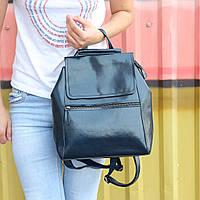 """Женский кожаный рюкзак-сумка(трансформер) """"Жозефина Dark Blue"""", фото 1"""