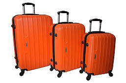 Набор дорожных чемоданов на колесах Siker Line набор 3 штуки Оранжевый