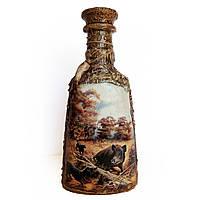 Подарок мужчине охотнику  Декор бутылки Охота на кабана , фото 1