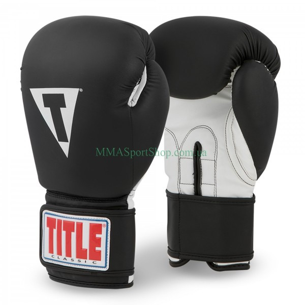 Боксерські рукавички TITLE Classic Retaliate Boxing Чорно-білі