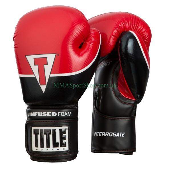 Боксерские перчатки TITLE Infused Foam Interrogate Training Черно-красные