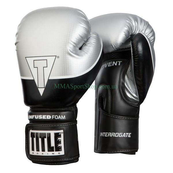Боксерские перчатки TITLE Infused Foam Interrogate Training Черно-серебристые