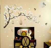 Самоклеющаяся  наклейка  на стену  Ветка дерева с птицами (187х128см)