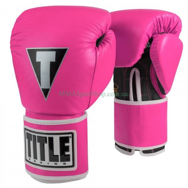 Боксерские перчатки TITLE Limited Pro Style Leather Training Розовые