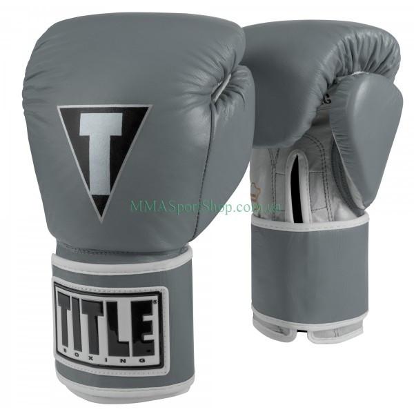 Боксерские перчатки TITLE Limited Pro Style Leather Training Серые