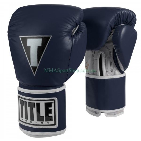 Боксерские перчатки TITLE Limited Pro Style Leather Training Темно-синие