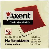 Блок post-it 75*75 мм, 100 листов, пастельный желтый. AXENT