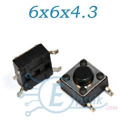 Кнопка тактовая, 6x6x4.3мм., SMD