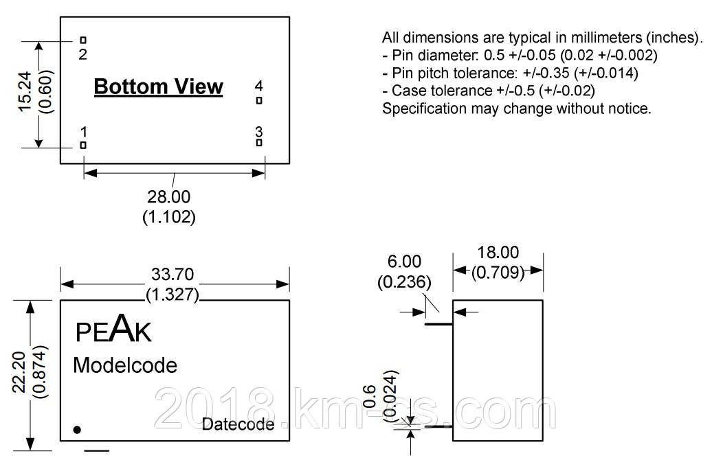 Микросхема AC-DC PPM02-S-12ELF (PEAK electronics)