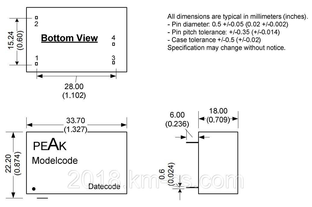 Мікросхема AC-DC PPM02-S-3R3ELF (PEAK electronics)