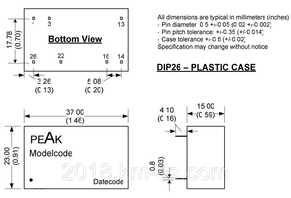 Микросхема AC-DC PPM03-S-15ELF (PEAK electronics)
