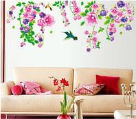 Самоклеющаяся  наклейка  на стену Колибри и цветы  (150х60см), фото 1
