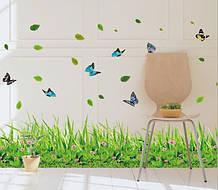 Самоклеющаяся  наклейка  на стену Зеленая трава (137х41см)
