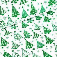 Бязь Елочки зеленые на белом, фото 1