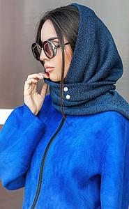 Синяя шерстяная косынка