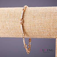 Браслет Xuping белые стразы L-18-20см s-2,5-4мм цвет золото