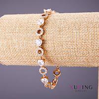 Браслет Xuping белые камни стразы L-18-21см s-8мм цвет золото
