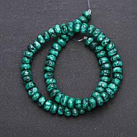 """Бусины из натурального камня имитация """"Цоизит"""" зеленый граненный рондель d-8х5мм нитка L-38см"""
