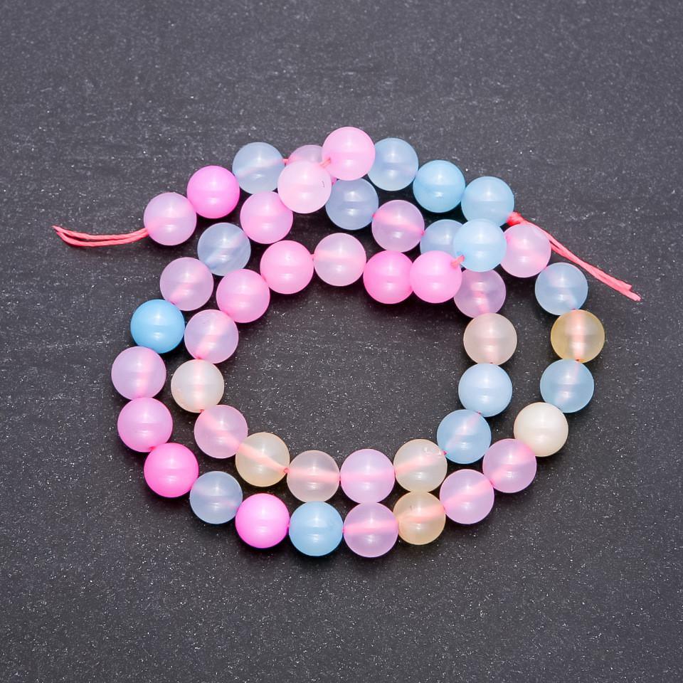 Бусины из натурального тонированного камня разноцветный гладкий шарик d-8мм нитка L-38см