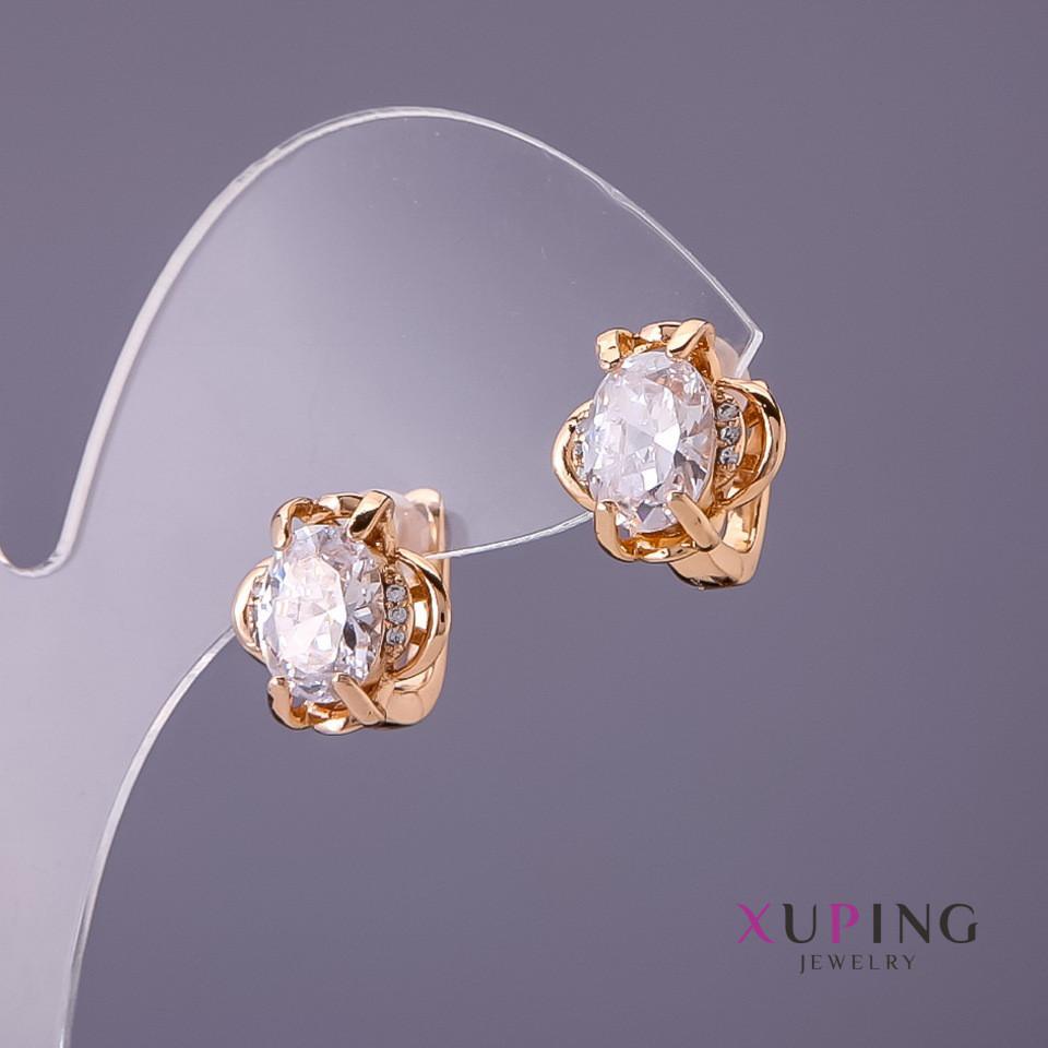 Серьги Xuping белые камни d- 12мм L-12мм цвет золото