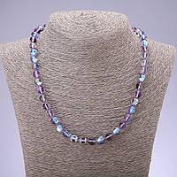 Бусы Опаловое стекло фиолет d-8 мм L-48см