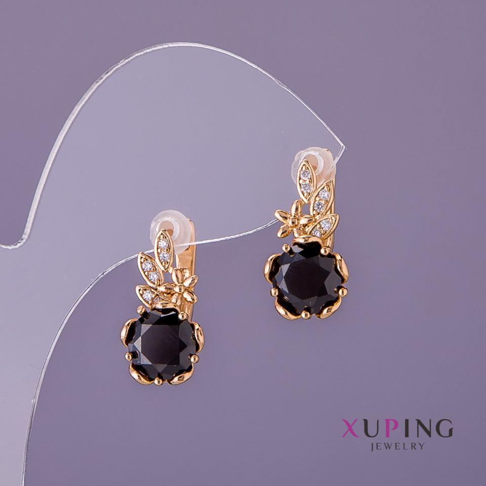 Серьги Xuping черные камни d-10мм L-18мм цвет золото