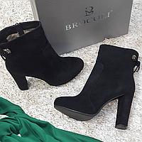 Ботинки женские демисезонные весна-осень из натуральной замши на каблуке черные 40, фото 1