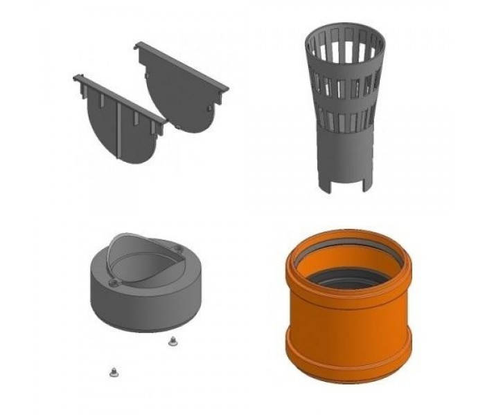 Комплект аксессуаров HAURATON TOP Х для желоба: 2 глухие заглушки, адаптер, корзина для мусора, гидрозатвор, фото 2