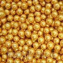 Драже Золотые бусины светлые 5 мм 100 гр