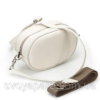 Поясная женская сумочка из высококачественной экокожи флотар бежевого цвета с одним основным отделением